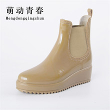Женские дождевые ботинки на платформе ботинки-челси резиновая обувь ботильоны низкий каблук женские ботинки без шнуровки женская обувь большой размер 36-41 XWX3577