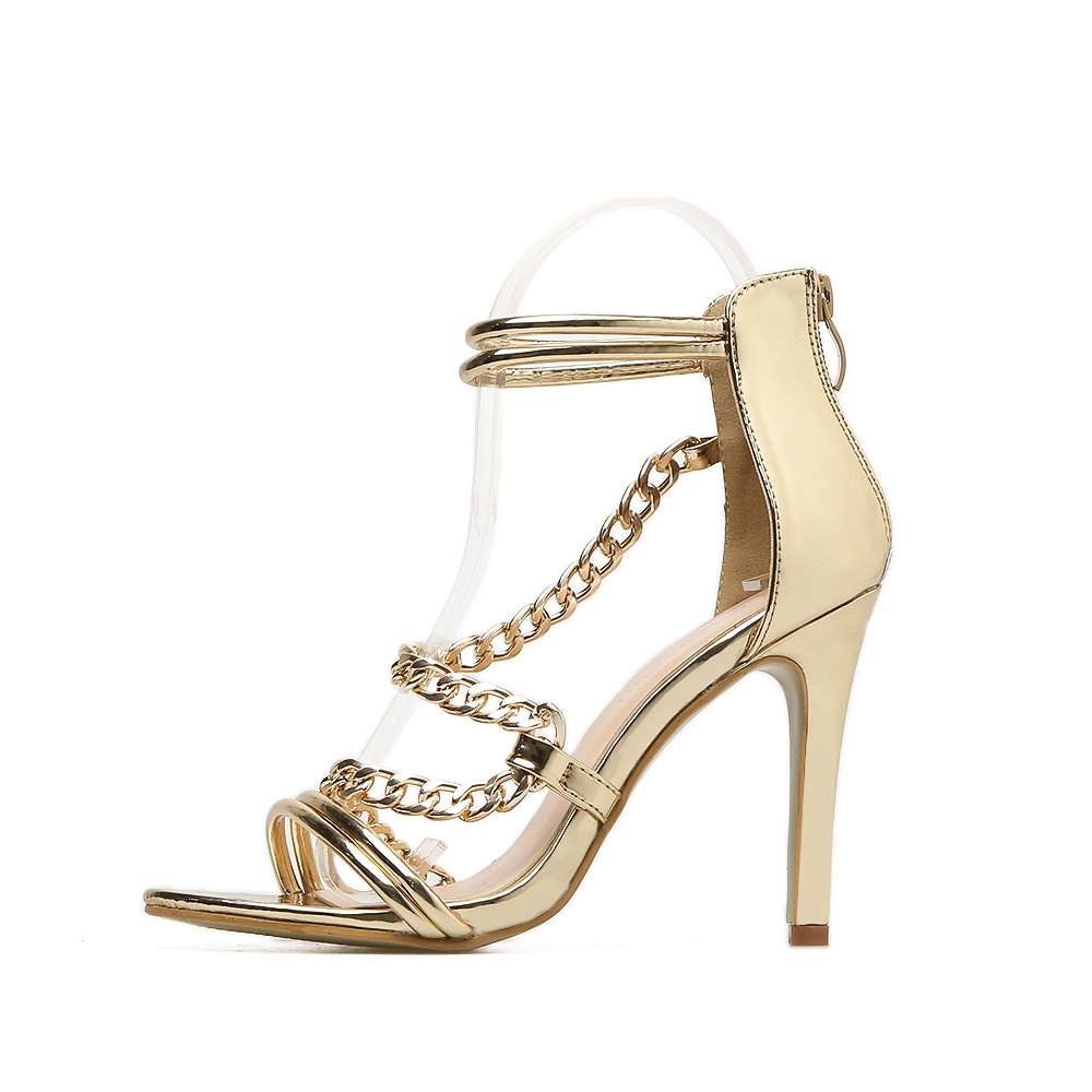 Punk chain sandals women with <font><b>10</b></font> cm stiletto <font><b>sexy</b></font> high heels ladies fashion fancy patent pu dress cool steel link chain shoes image