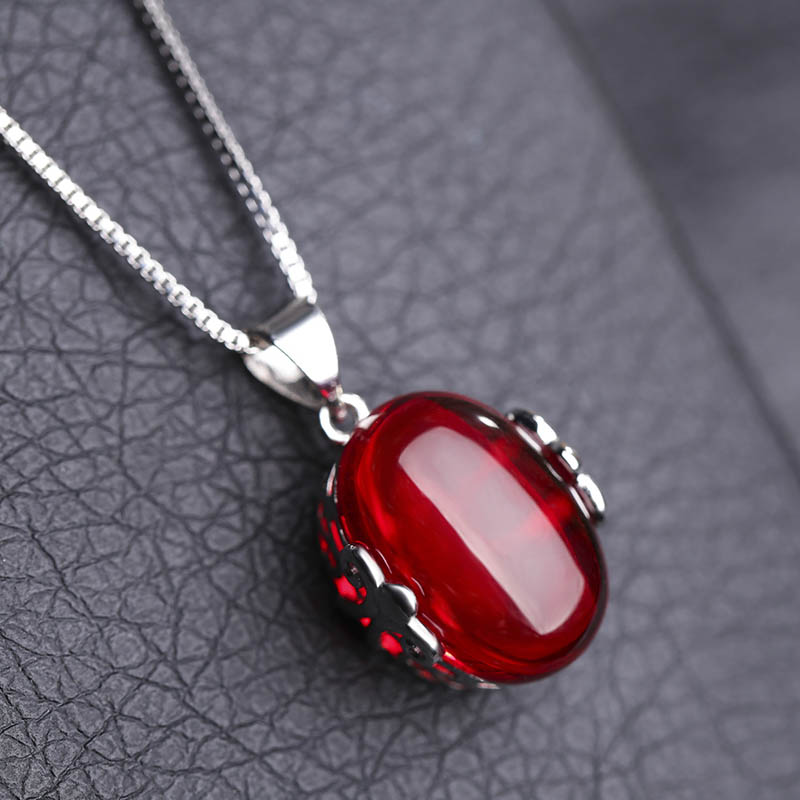 JYouHF Mode Red Korundum Batu Set Perhiasan Oval Berbentuk Kalung - Perhiasan fashion - Foto 4
