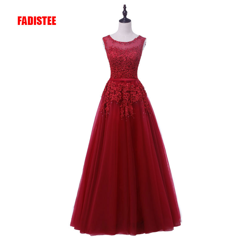 FADISTEE new arrival party   prom     dress   Vestido de Festa V-neck pattern appliques beading pearls see through luxury style   dress