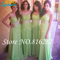 A Line Green Empire Bridemaid Dresses Chiffon Ruffles Beading Scoop Formal Bridal Gowns 2016 Floor Length Vestido de festa