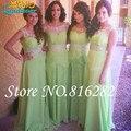A linha verde império Bridemaid vestidos Chiffon Ruffles Beading colher Formal vestidos de noiva 2016 até o chão Vestido de festa