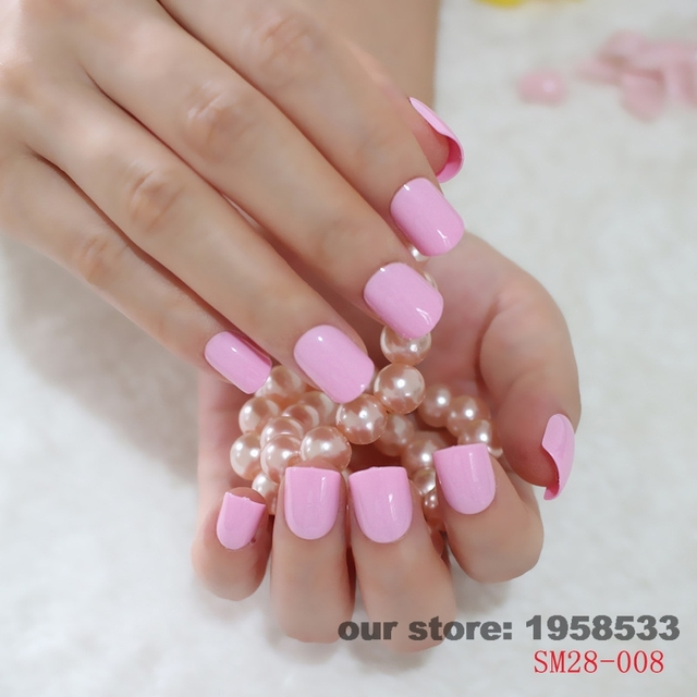 24pcskit Pink Purple Acrylic Nail Design Tips Sweet Candy Round