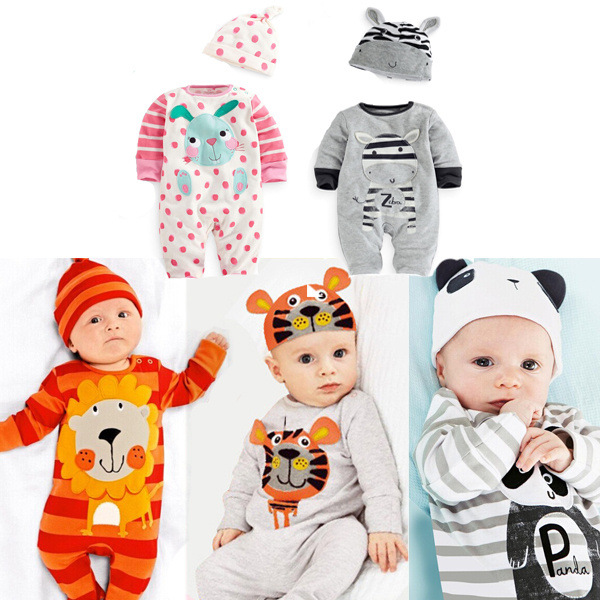 2017 spring autumn kids clothes new born baby girls boys rompers+hat long-sleeved jumpsuit infant clothing set 2PCS/0-24M/ infant toddler baby kids boys girls pocket jumpsuit long sleeve rompers hats kids warm outfits set 0 24m