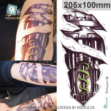 20X10cm 3D Large Halloween Horrible Skull Green Mechanical Robot Arm Pattern Men Arm Shoulder Temporary Tatoo Stickers