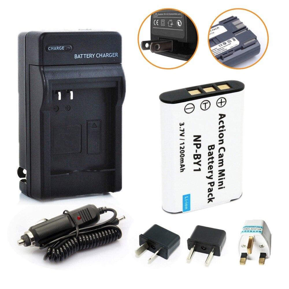 Nueva 1 unids NP-BY1 batería NP BY1 batería li-ion + DC cargador de coche para Sony HDR-AZ1/AZ1VR /AZ1VB/AZ1VW cámara de vídeo DV