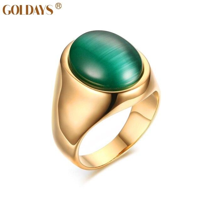 50a1ea545fbf Joyas de gran anillo de piedra verde esmeralda simulado oro goldays-color  de la boda