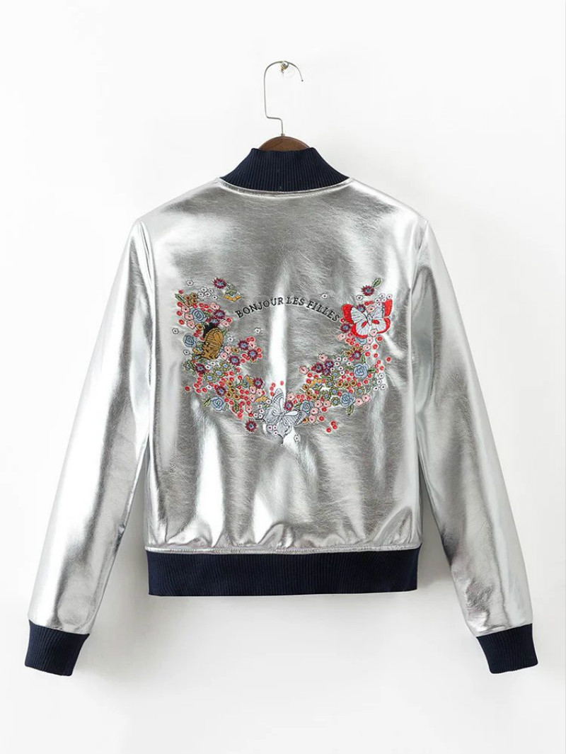 Leather jacket europe - 2017 Europe And The United States New Metal Silver Flowers Embroidered Leather Jacket Women S Leather Jacket