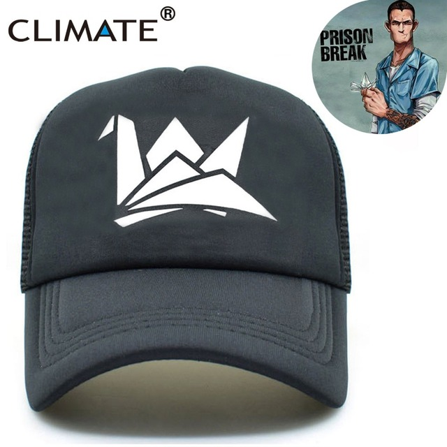CLIMATE Men Women Black Summer Cool Caps Prison Break Paper Crane Michael  Scofield Fox River Fans Mesh Summer Trucker Caps Hat 1bce5dfc0d10