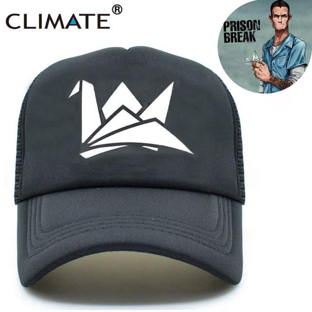 78c7d8617ae CLIMATE Men Women Black Summer Cool Caps Prison Break Paper Crane Michael  Scofield Fox River Fans