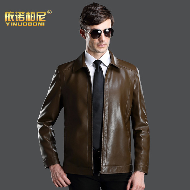 Free Shipping!the New Spring 2016 Men's Sheep Leather Jacket Lapel High Quality Large Size Brand Men's Leather Coat  Motorcycle