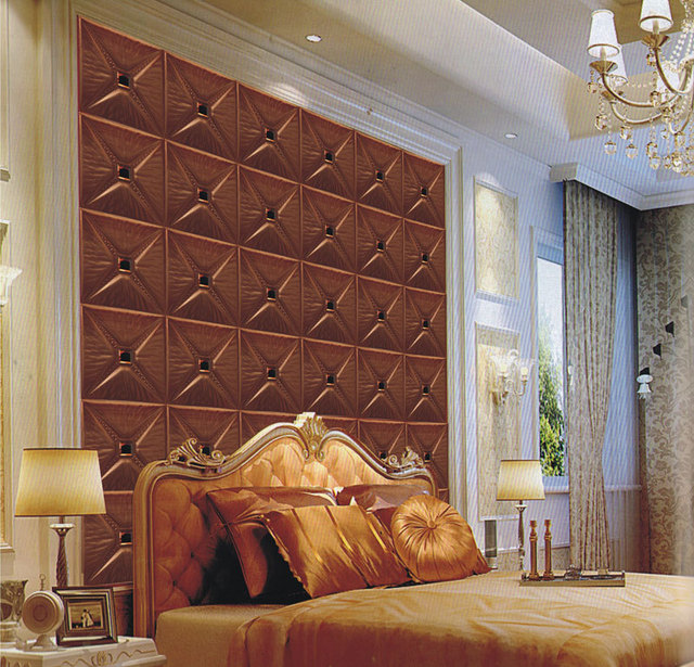 Sound Absorbing 3d Wall Panels Bedroom Leather Wall Decor