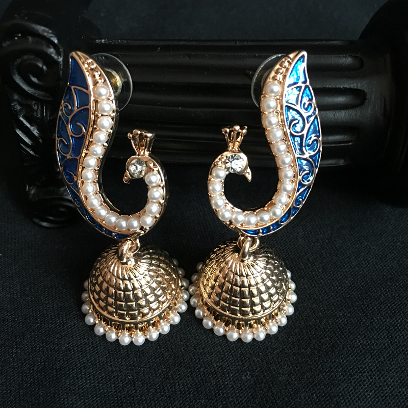 Indien Bollywood Jhumka Ohrringe, Legierung Galvanik Künstliche Perlen Pfau  Jhumki Kronleuchter Ohrringe Tribe Indische Braut