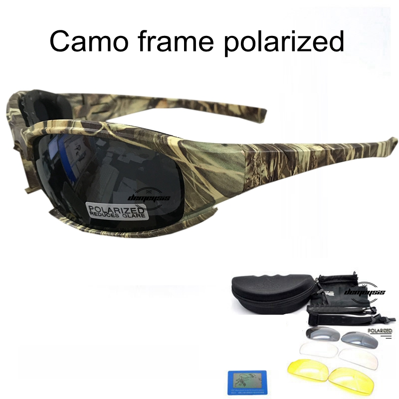 Tactical Camouflage X7 C5 Men's Polarized Glasses Military Shooting Hunting Goggles 4 Lens Kit Sunglasses Men Hiking