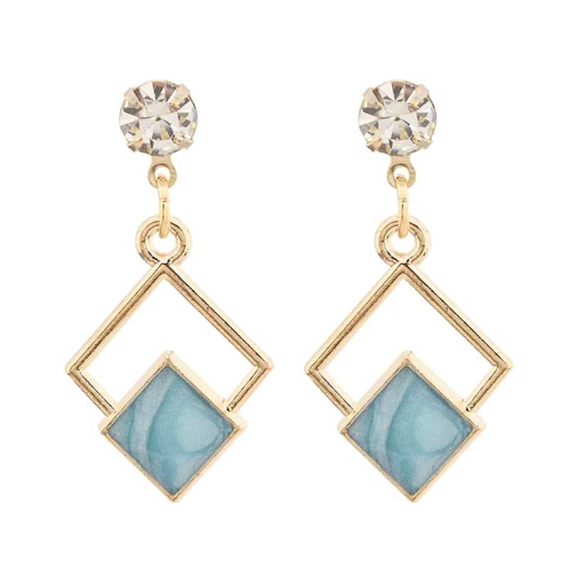 Korean Earrings Square Statement Geometric Quadrilateral Dangle Drop Earrings For Women 2019 Fashion Crystal Jewelry Wholesale