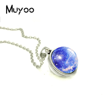 2018 New Blue Nebula Galaxy Double Sided Pendant Galactic Cosmic Moon Necklace Glass Dome Photo Jewelry Round Bronze Necklaces