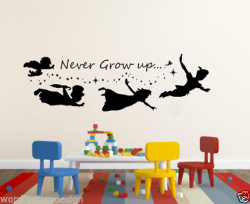 G156 Never Grow Up Peter Pan Quote Silhouette Stars Vinyl Wall