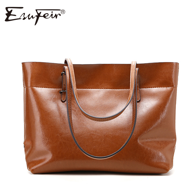 ESUFEIR Brand Genuine Leather Women Handbag Oil Wax Leather Vintage Casual Tote Large Capacity Shoulder Bag Fashion Women Bag esufeir 2018 100% genuine leather women handbag cow leather multi shoulder bag casual colourful patchwork women bag tote kj055
