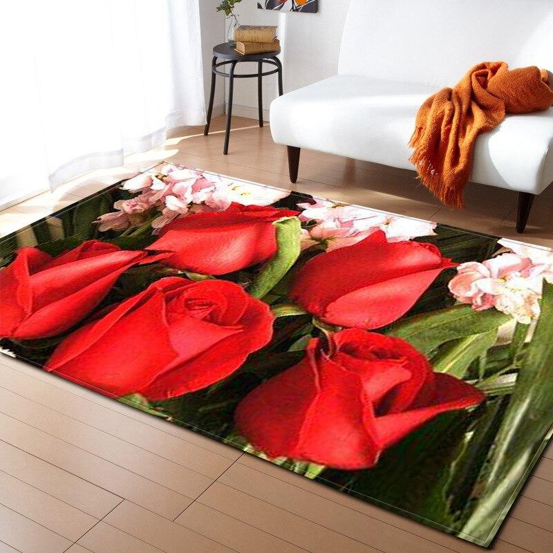 Rose Flower 3D Printing Carpet Hallway Doormat Anti - Slip Bathroom Tea Table Wedding Carpet Absorb Water Kitchen Mat/Rug