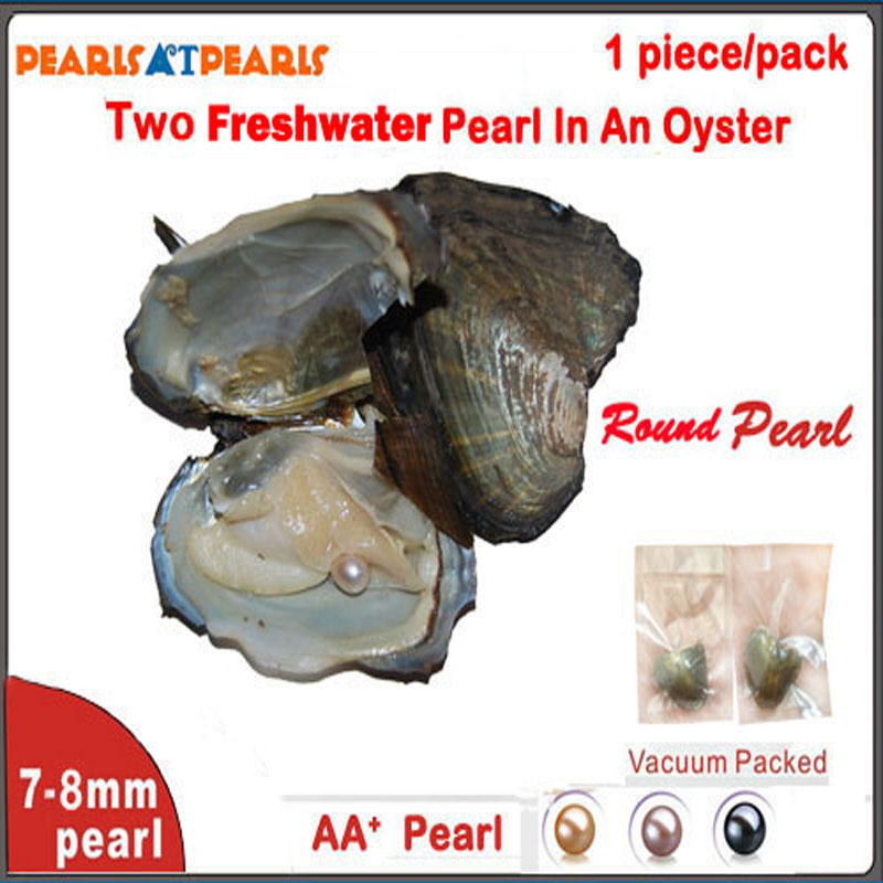 50pcs Individually Vaccum Packed Wish Pearl in Oyster TWIN AA+ 7-8mm Round Pearl Oyster with Pearls