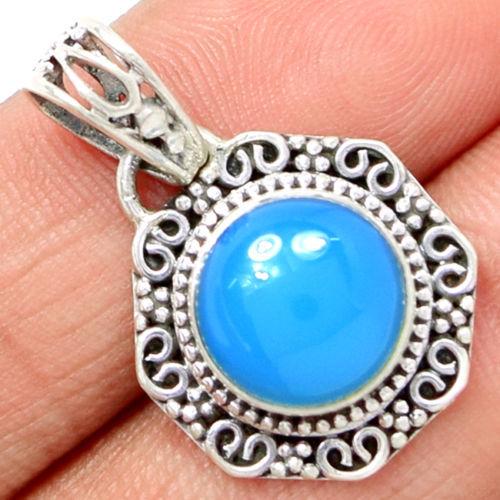 Genuine ap0609 aqua calcedônia pingente 100% 925 jóias de prata esterlina sólida