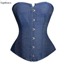 Sapubonv Corsetเซ็กซี่คาวบอยชุดชั้นในผ้าcorselet overbust Basque corsetsและbustiersชุดvictorianสุภาพสตรีGothic