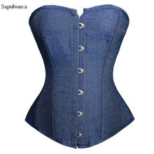 Sapubonv corsetto sexy cowboy lingerie broccato corsetto overbust baschi corsetti e bustini costumi vittoriano delle parti superiori delle signore gothic