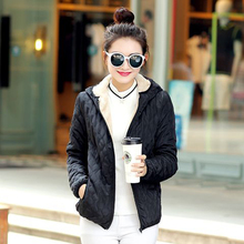 Women winter jacket hooded parka zipper