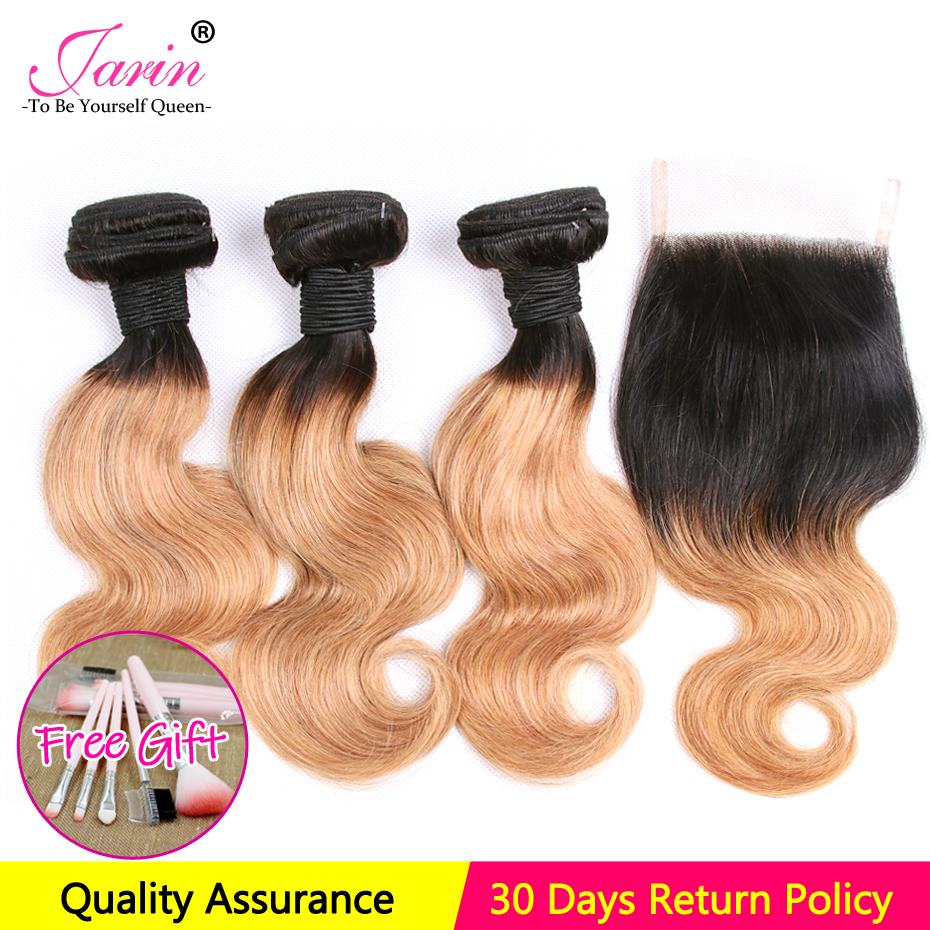 100 Human Hair Body Wave 3 Bundles With Closure 1B 27 Two Tone Color Ombre Brazilian