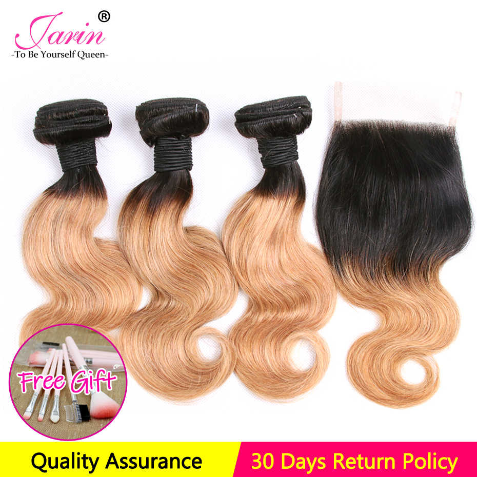 100% Human Hair Body Wave 3 Bundles With Closure 1B/27 Two Tone Color Ombre Brazilian Remy Hair Weave Bob Style Free Shipping