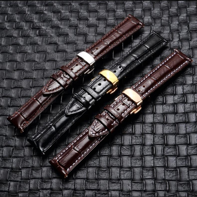 Genuine Leather Watch Band Top Calf Grain Leather Watch Strap Stainless Metal Deployment Clasp 14mm 18mm 20mm 22mm For Men Women