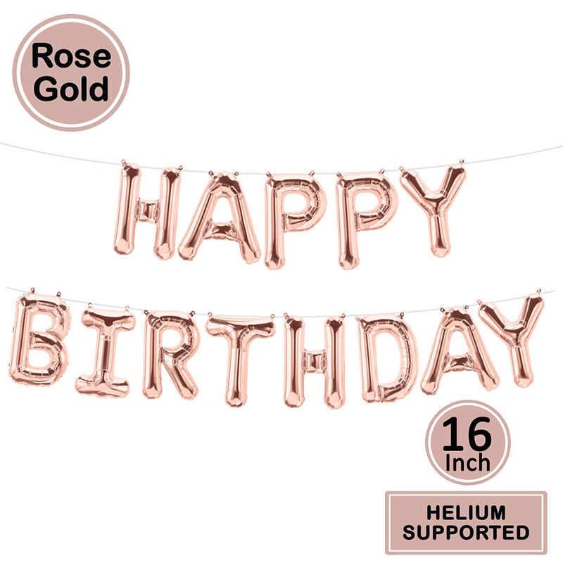Globos de papel de Feliz Cumpleaños de 16 pulgadas Baby First 1st cumpleaños fiesta decoración niño niña niños adultos cumpleaños banderines decoración uno año