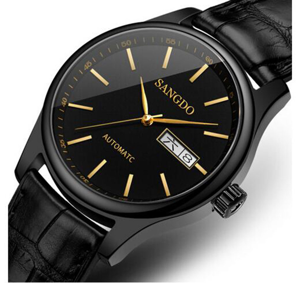 Luxury SANGDO watch men black Stainless steel Automatic mechanical waterproof calendar wristwatch relogio masculine tevise fashion auto date automatic self wind watches stainless steel luxury gold black watch men mechanical t629a with tool