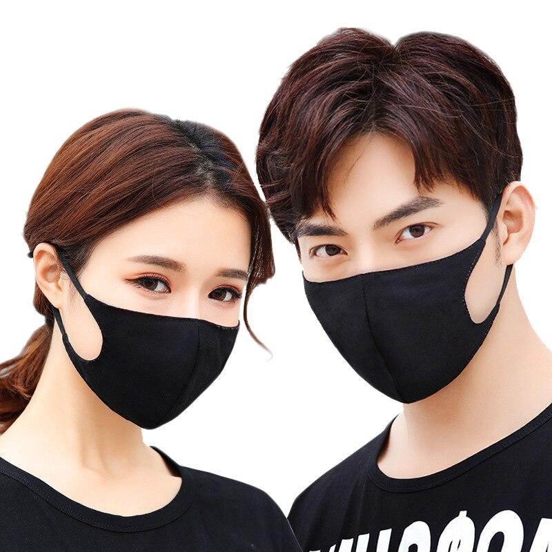 1pcs 3D Men Women Black Mouth Mask Dustproof Washable Reusable Breathable Anti-fog Haze Dust Masks For Allergy/Travel/ Cycling
