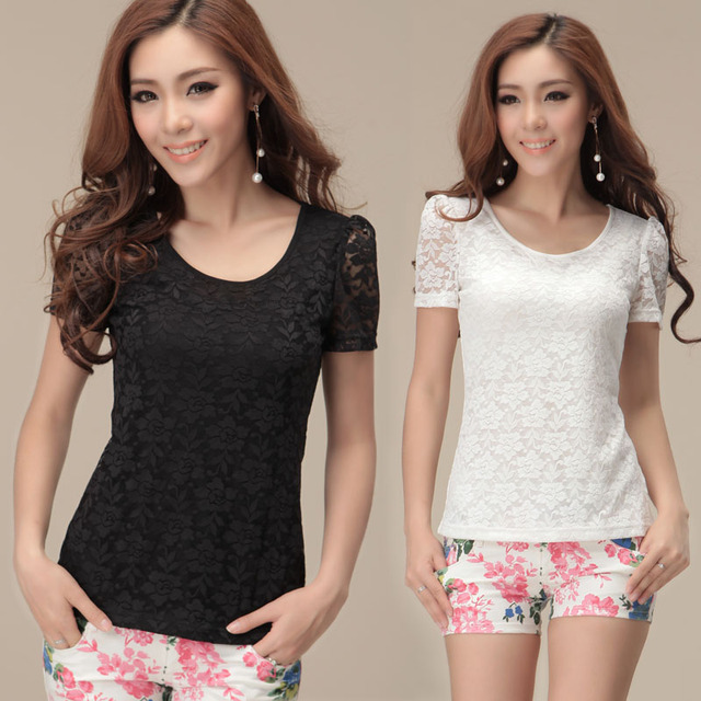 Women's summer plus size lace o-neck short-sleeve slim female t-shirt long design top