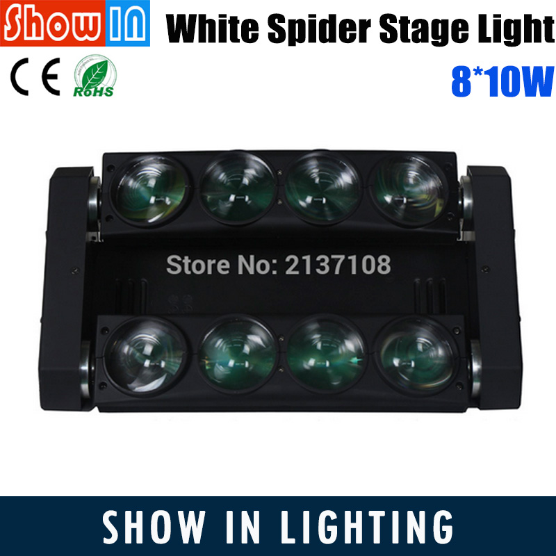 100W LED Spider Sharp Beam Wash Moving Head 8*10W Light 10W White RGBW DMX DJ Disco Party Wedding Stage Lighting Equipment 230V 6pcs lot white color 132w sharpy osram 2r beam moving head dj lighting dmx 512 stage light for party