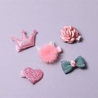 ブティック5セットファッションかわいい弓花ヘアピン固体かわいい毛皮の猫