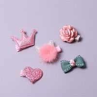 Boutique 5sets Fashion Cute Bow Floral Hairpins Solid Kawaii Glitter Fur Cat Ears Hair Clips Princess Headwear Set Present