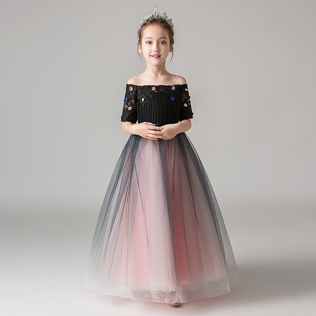 Teenage Girls Elegant Bridesmaid Formal Prom Gown Kids Girls Tulle Appliques Party Dress Children Gauze Princess Vestidos Q122