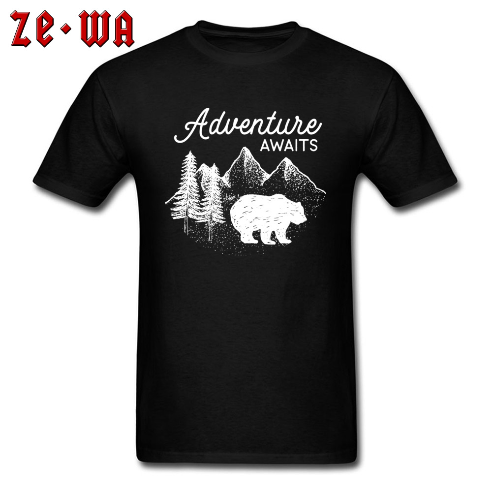 <font><b>White</b></font> Adventure Awaits Bear <font><b>Blank</b></font> <font><b>T</b></font> <font><b>Shirts</b></font> Two Peaks Customized Familty Crew Neck <font><b>T</b></font> <font><b>Shirt</b></font> Mens Hands Animal <font><b>T</b></font>-<font><b>Shirt</b></font> image