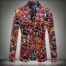 2016 new Flower blazer jacket male slim trend males's trend character flat flannelette print coat top quality promenade groom