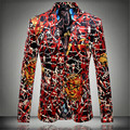 2016 nova Flor jaqueta blazer masculino magro moda personalidade fashion flannelette plana casaco de impressão de alta qualidade dos homens do noivo prom