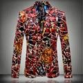 2016 nueva Flor chaqueta flannelette plano chaqueta masculina personalidad de la moda delgado hombres de la manera capa de impresión de alta calidad prom novio