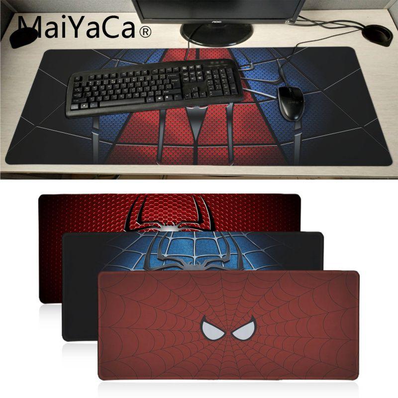 MaiYaCa New Printed Spiderman Logo Keyboard Gaming MousePads Large Gaming Mouse Pad Lockedge Mouse Mat Keyboard Pad