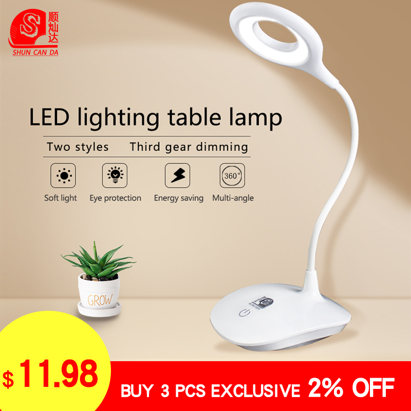 LED table lamp Desk lights Touch Switch 3 Modes Led Clip Eye Protection night Light Dimmer USB Rechargeable reading book