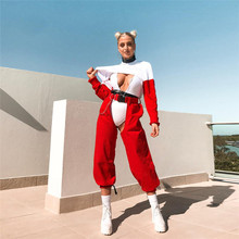 2019 streetwear gothic red pants joggers women clothes high waist wide leg open crotch pant beach party sexy pole dance