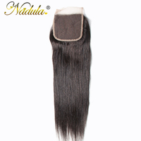 Nadula Hair Brazilian Straight Hair Closure 10 20INCH Free/Middle/Three Part Swiss Lace Closure Natural Color Remy Hair Weave