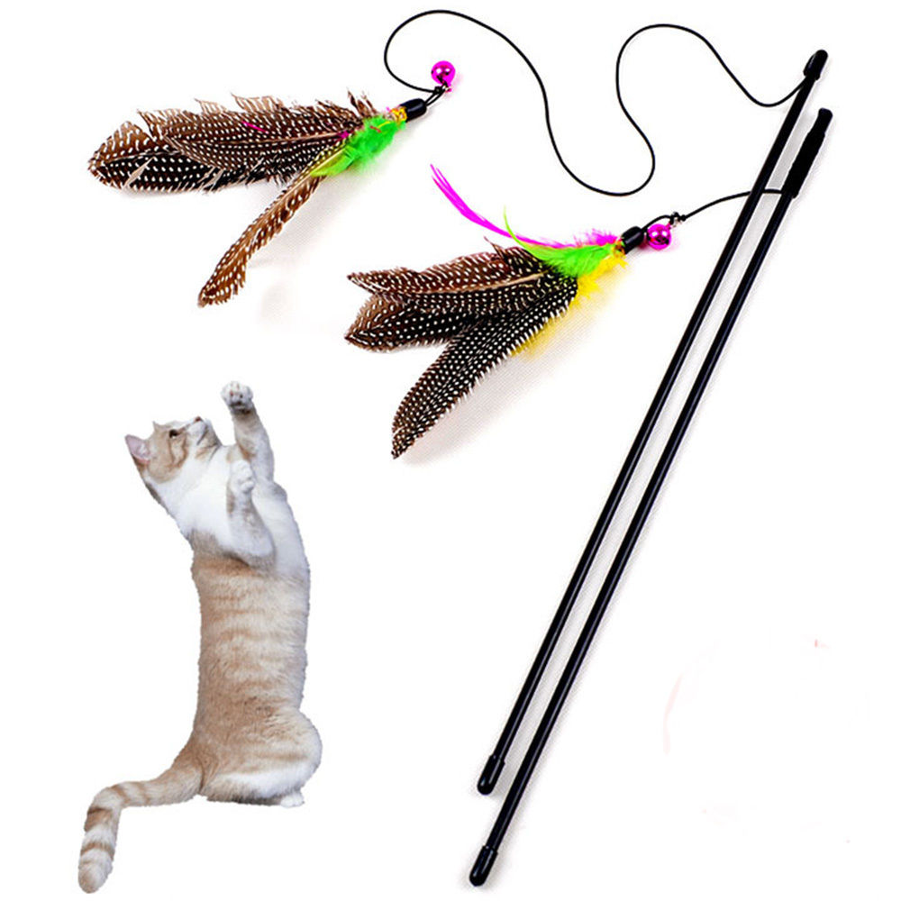 2 pcs High Quality Pet Cat Toy Funny Cat Kitten Pet Bird Feather Toy Teaser Wire Chaser Pet Toy Wand Cat Scratching Teaser Toy
