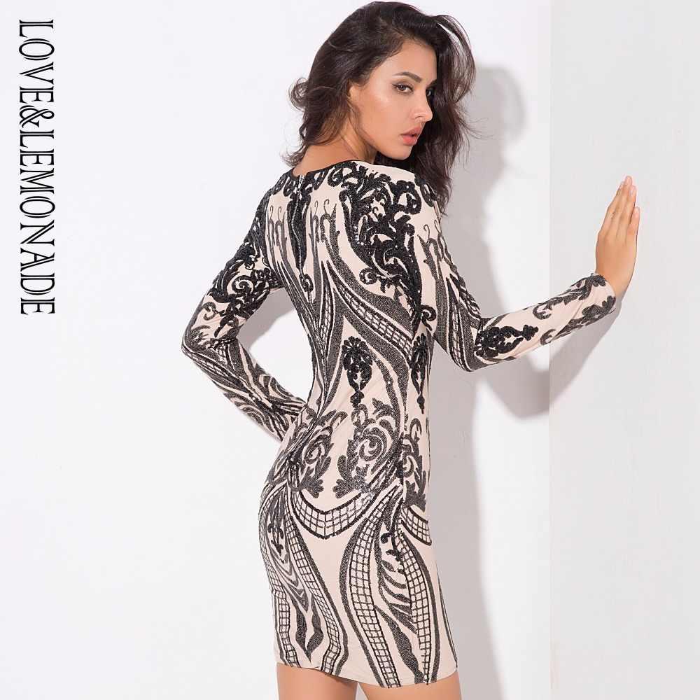 Love & Lemonade черное платье с глубоким v-образным вырезом и длинным рукавом LM0309
