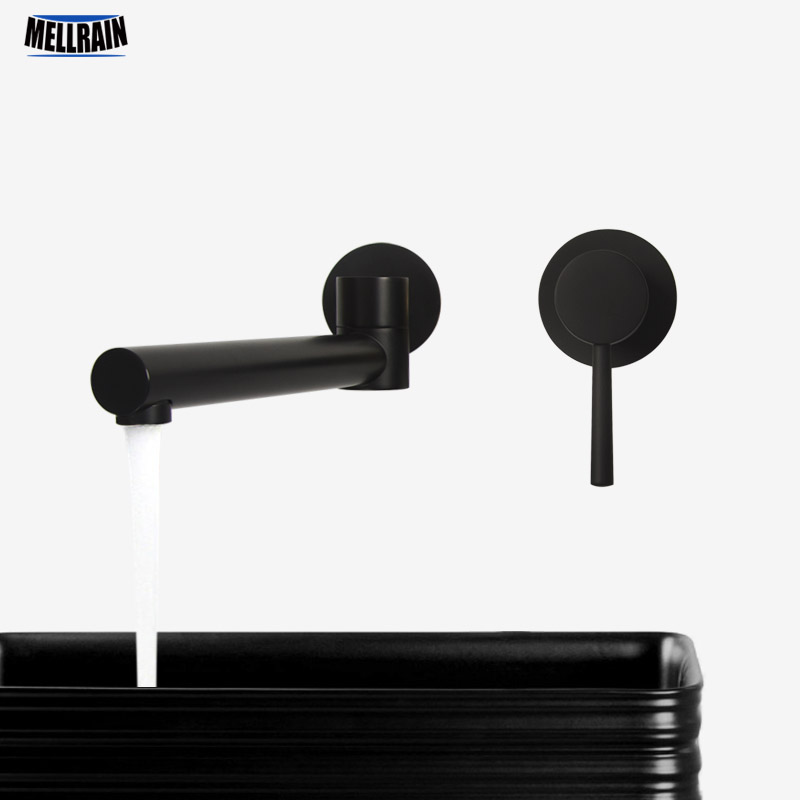 Matte Black & Chrome Rotatable Bathroom Basin Faucet Brass Wall Mounted Single Handle Water Mixer Tap Quality Bathtub Faucet wall mounted solid brass mixer double handle bathroom bathtub basin faucet mixing tap chrome polished page 1